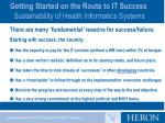 getting started on the route to it success sustainability of health informatics systems3