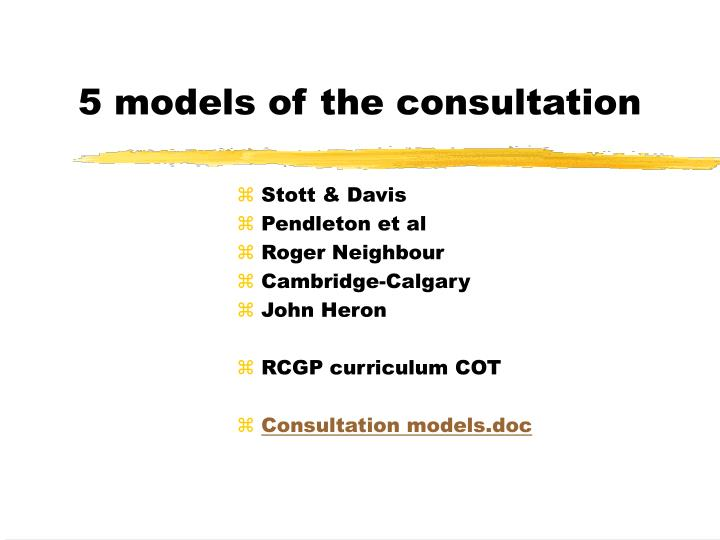 5 models of the consultation