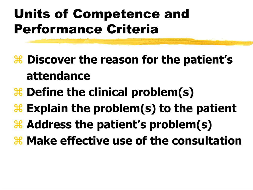 Units of Competence and Performance Criteria