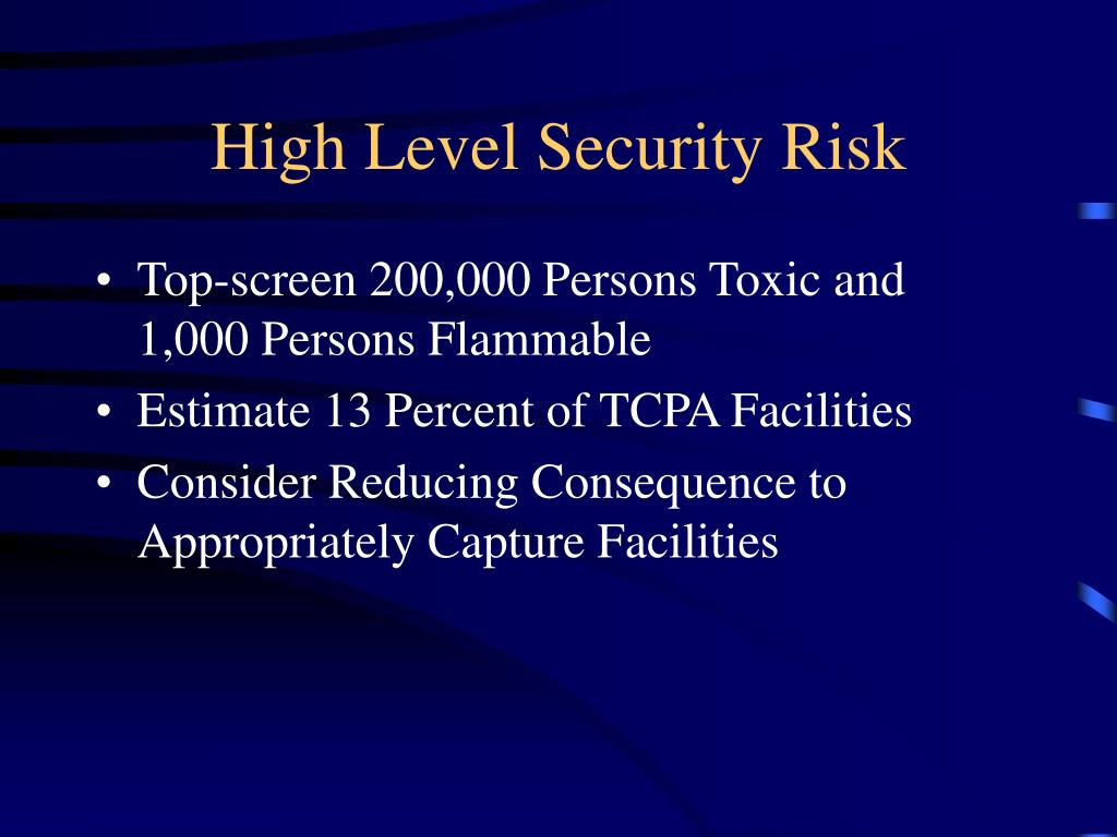 High Level Security Risk