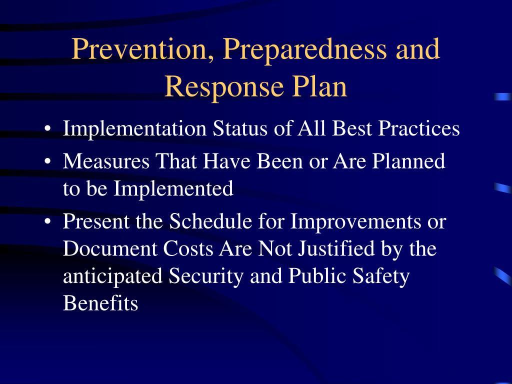 Prevention, Preparedness and Response Plan