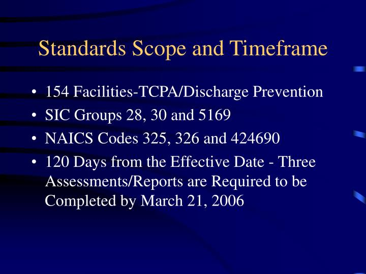 Standards scope and timeframe