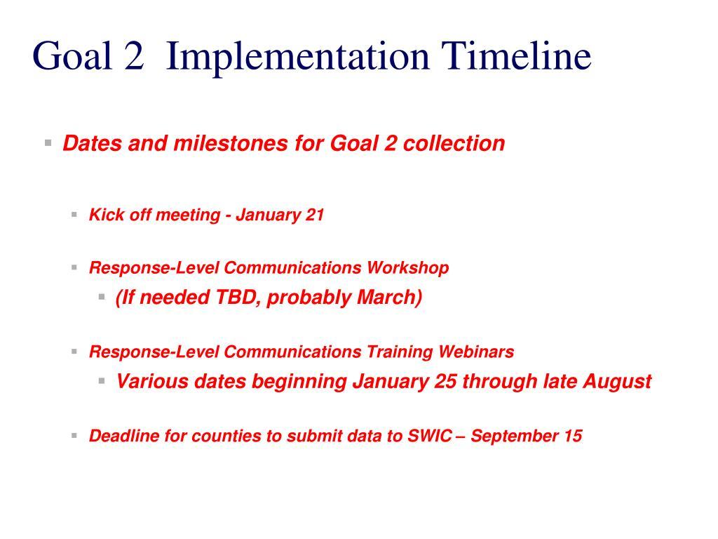 Goal 2  Implementation Timeline