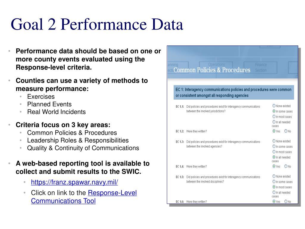 Goal 2 Performance Data