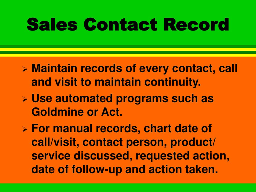 Sales Contact Record