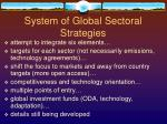 system of global sectoral strategies