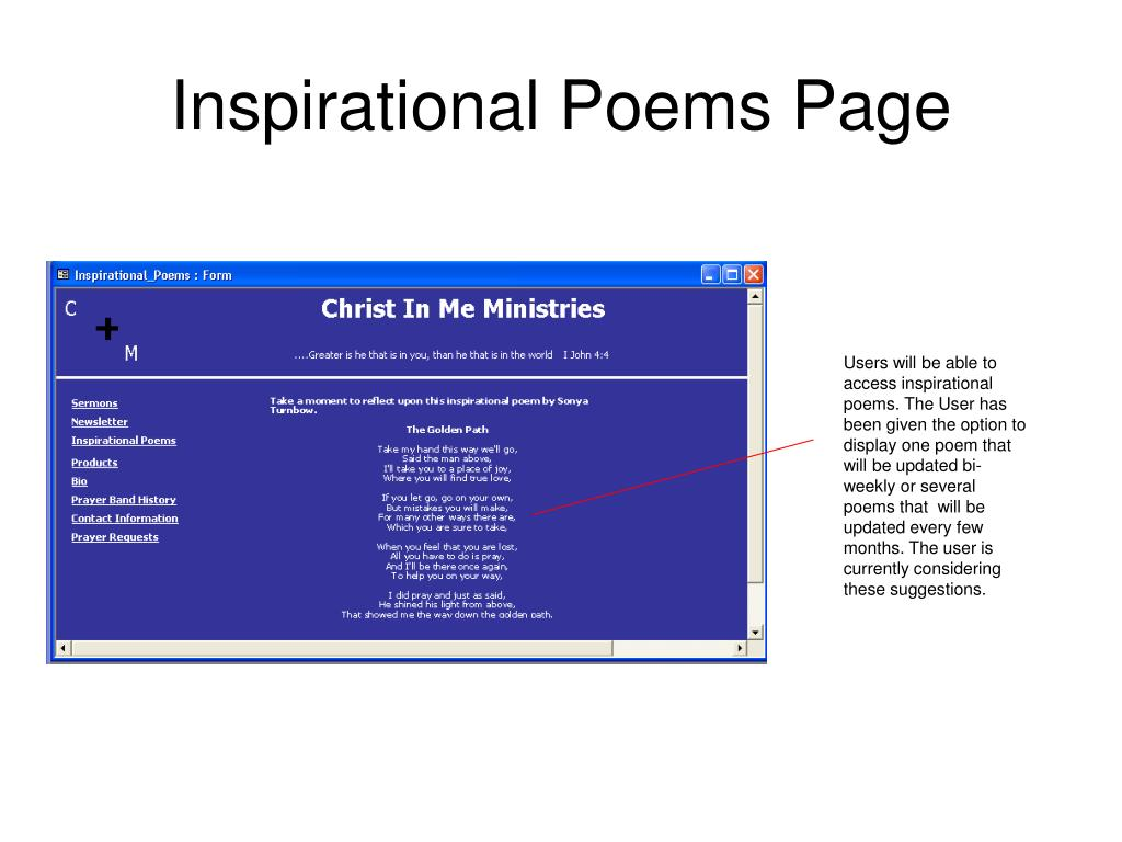 Inspirational Poems Page