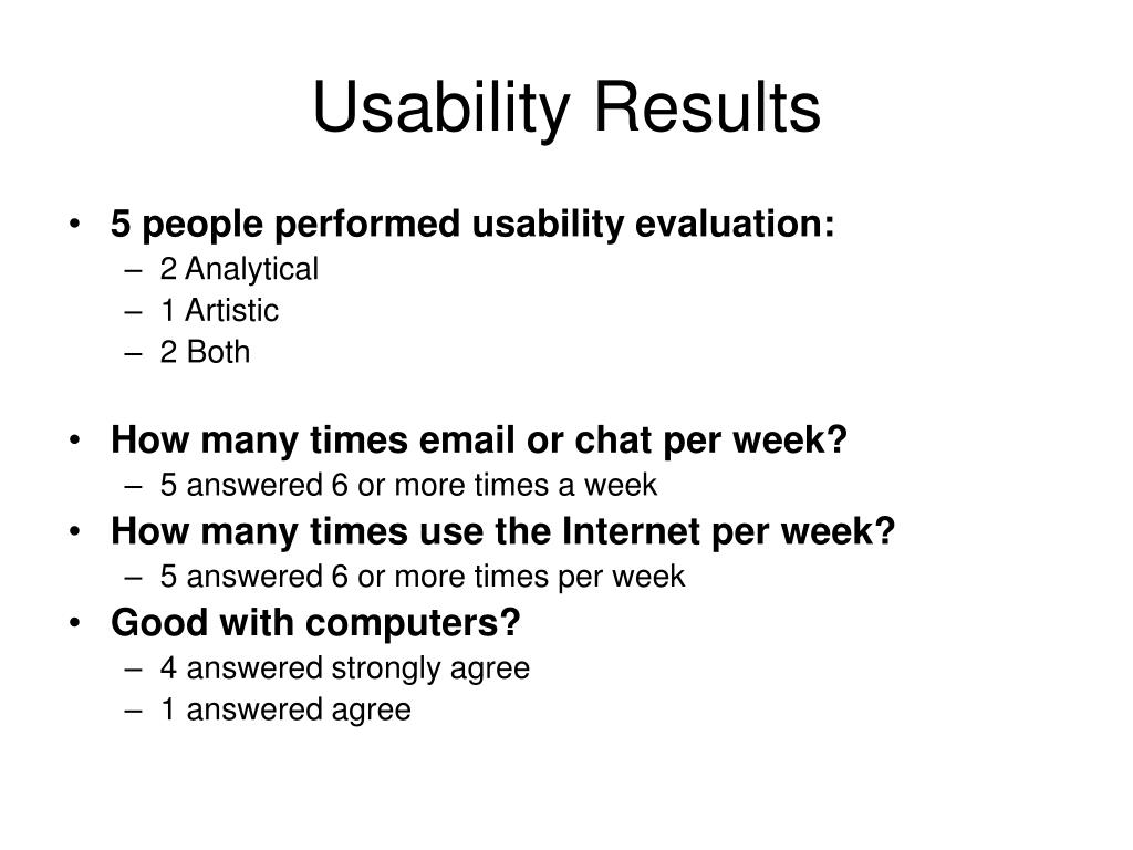 Usability Results