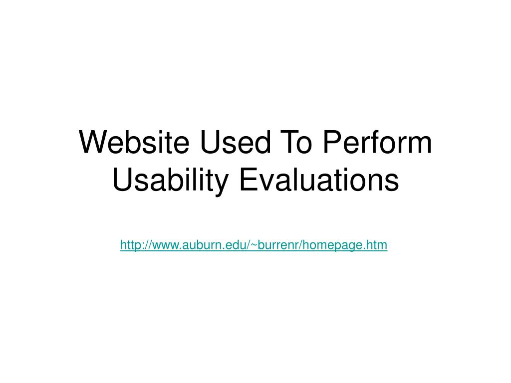 Website Used To Perform Usability Evaluations