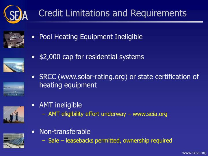 Credit Limitations and Requirements