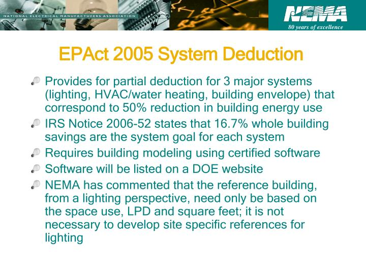 EPAct 2005 System Deduction