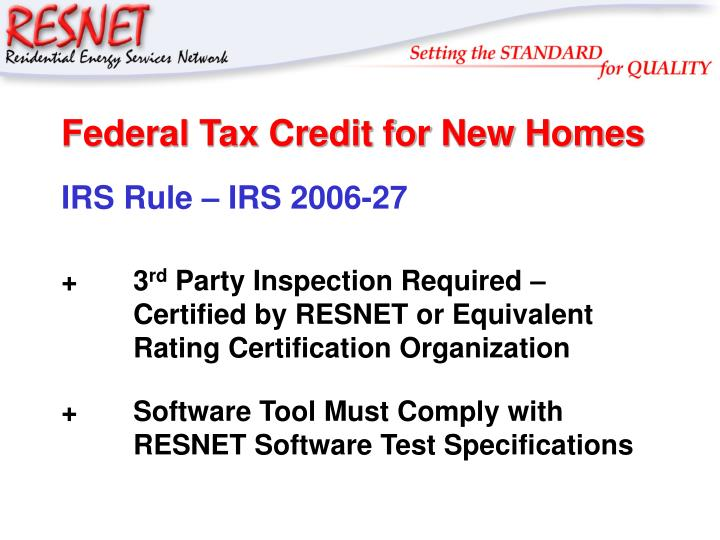 Federal Tax Credit for New Homes