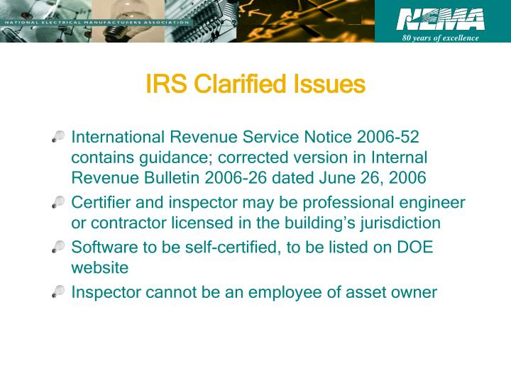 IRS Clarified Issues