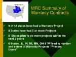 mrc summary of warranty contracts