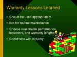 warranty lessons learned