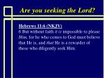 are you seeking the lord