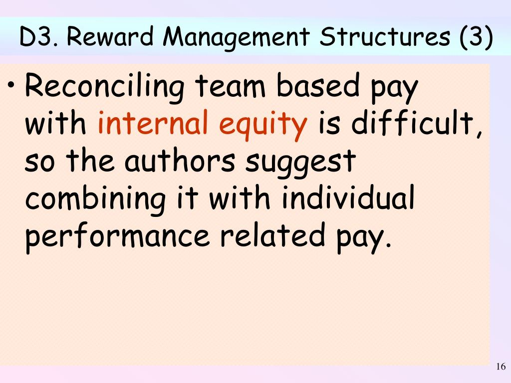 D3. Reward Management Structures (3)