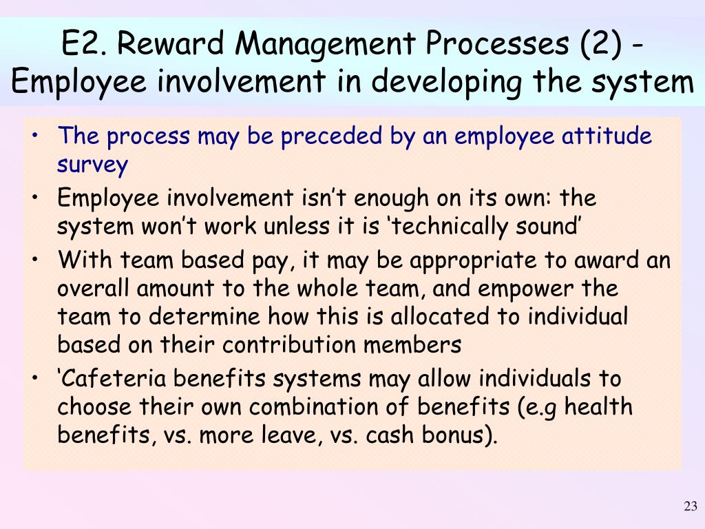 E2. Reward Management Processes (2) - Employee involvement in developing the system
