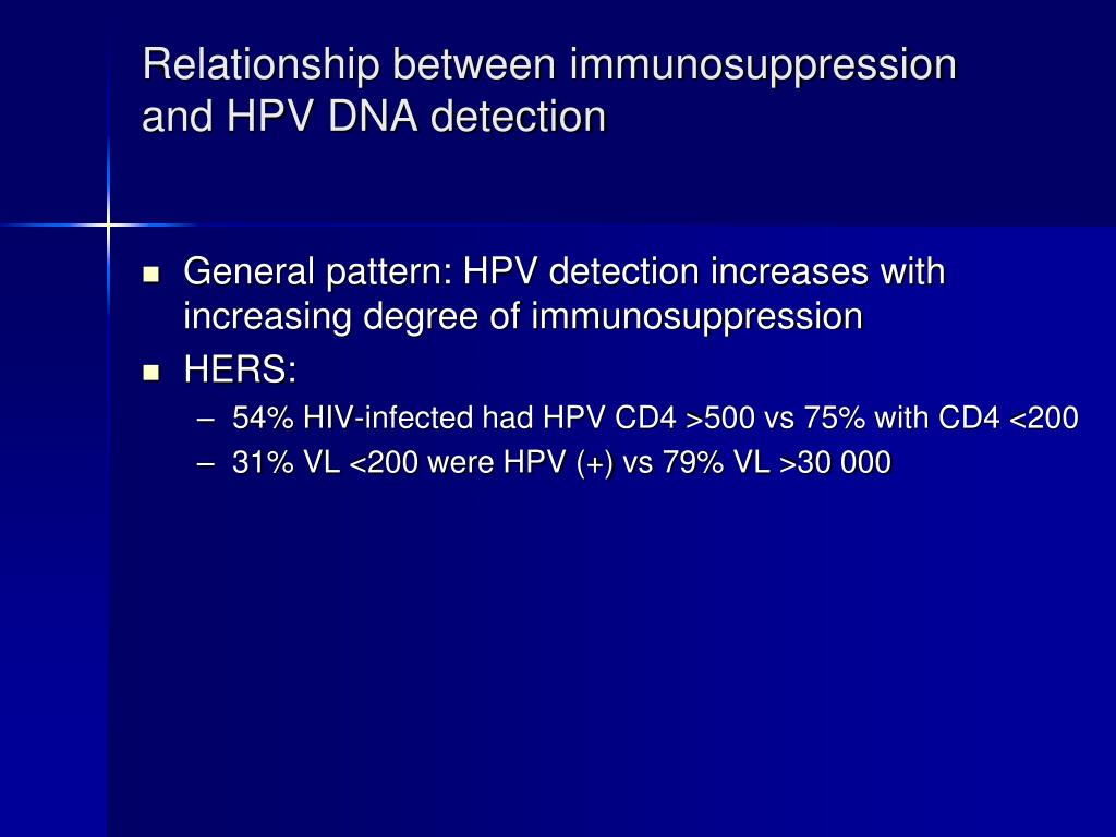 Relationship between immunosuppression and HPV DNA detection