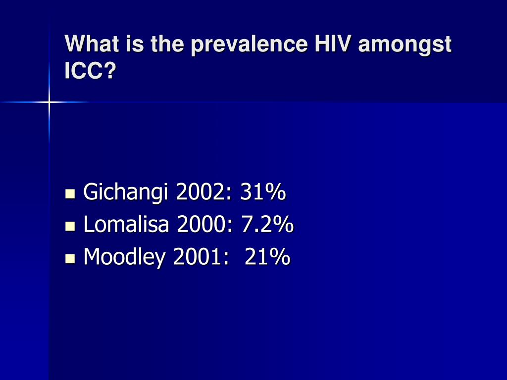What is the prevalence HIV amongst ICC?