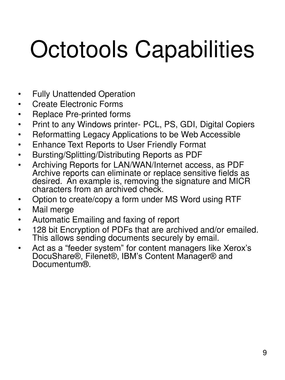 Octotools Capabilities