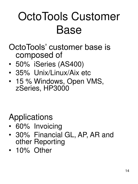 OctoTools Customer Base