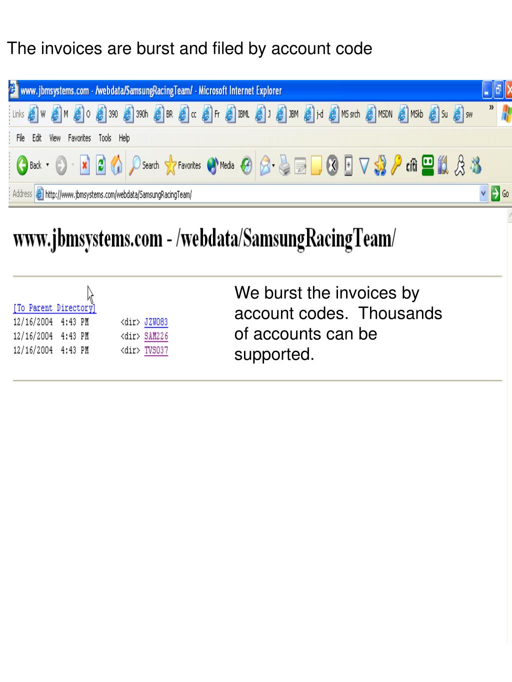 The invoices are burst and filed by account code
