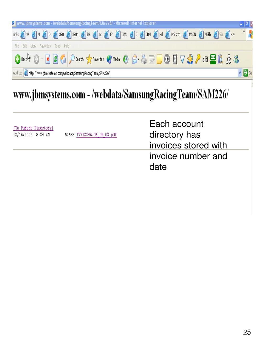 Each account directory has invoices stored with invoice number and date