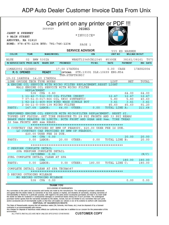 ADP Auto Dealer Customer Invoice Data From Unix