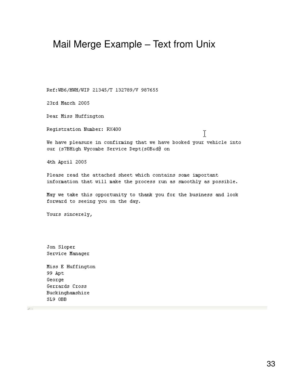 Mail Merge Example – Text from Unix