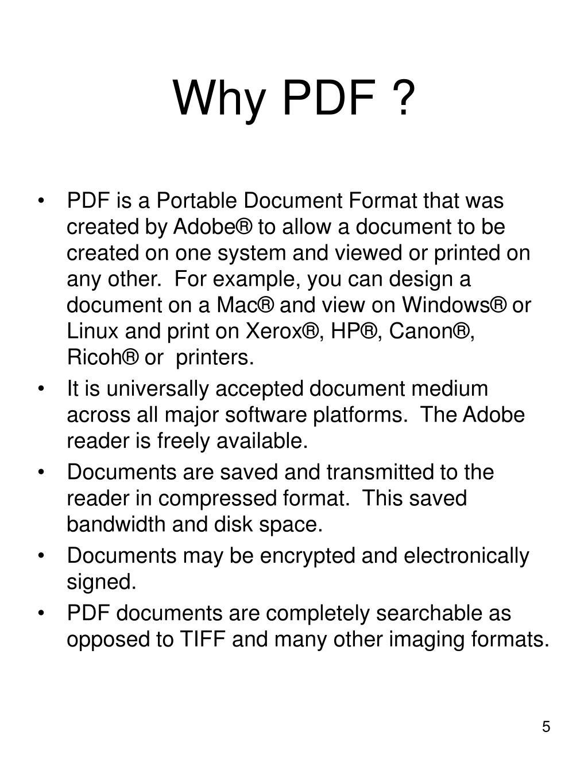 Why PDF ?