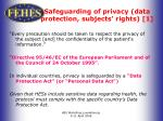 safeguarding of privacy data protection subjects rights 1