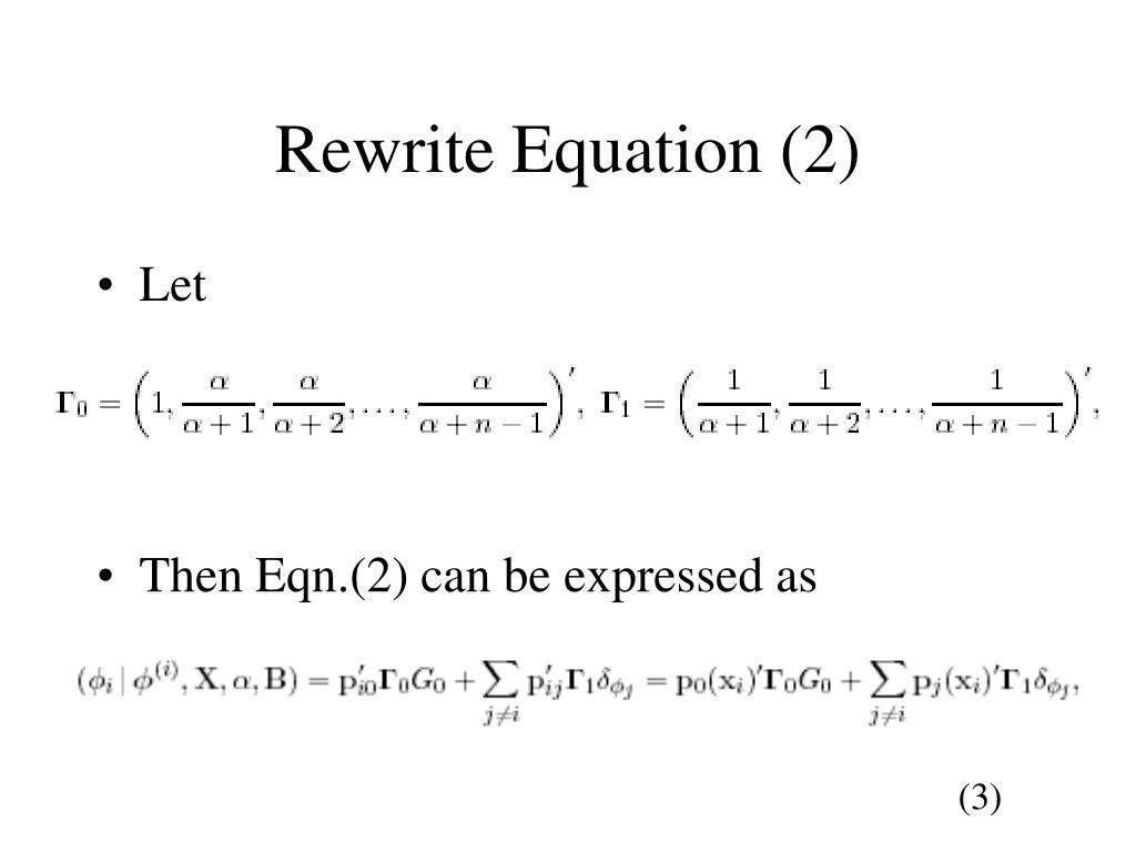 Rewrite Equation (2)