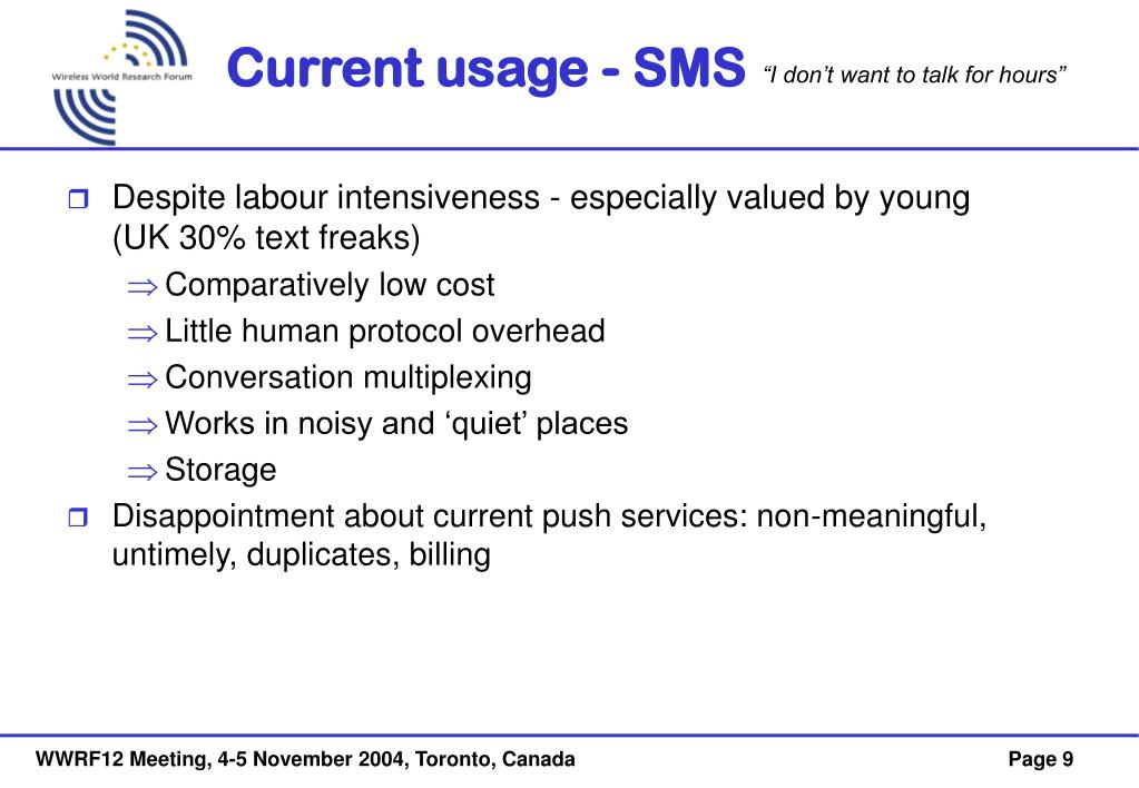 Current usage - SMS