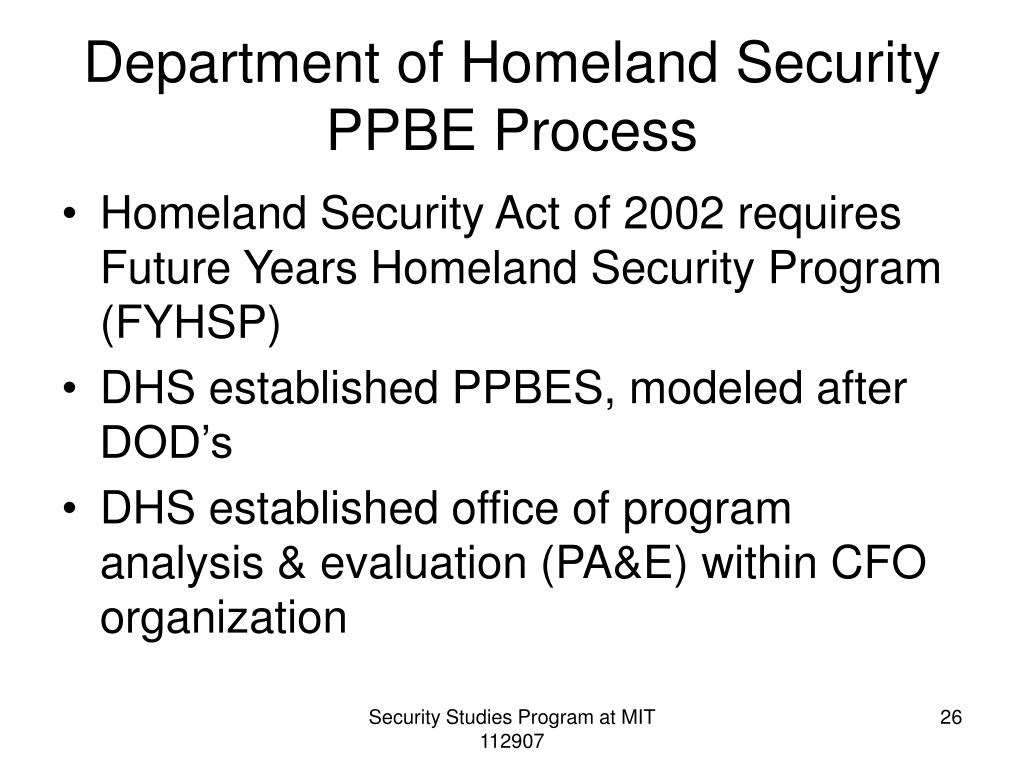 Department of Homeland Security PPBE Process