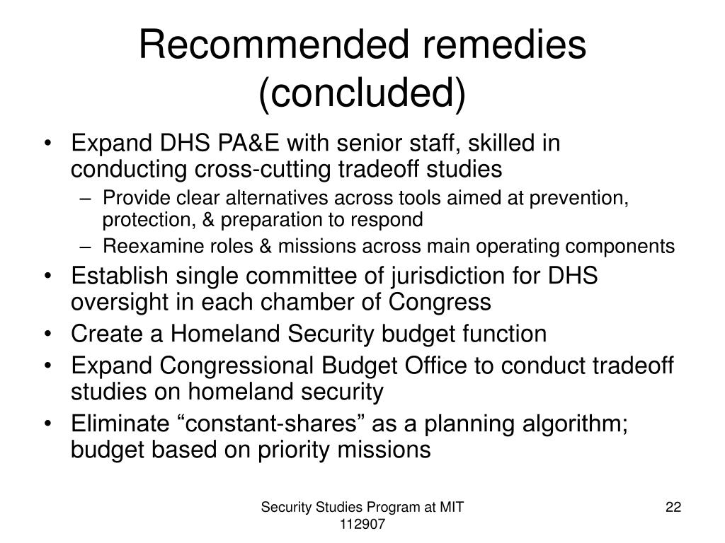 Recommended remedies (concluded)