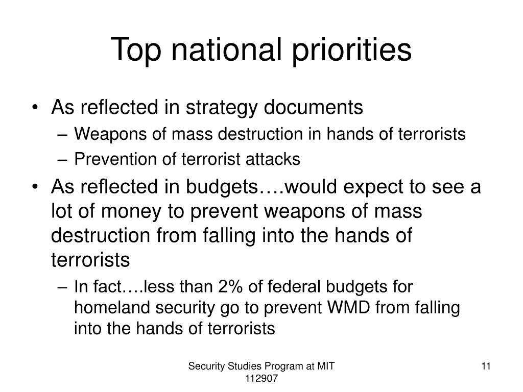 Top national priorities