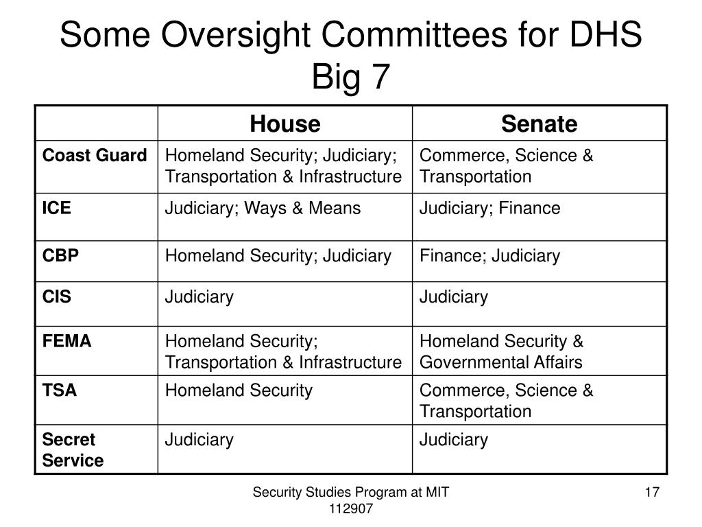Some Oversight Committees for DHS Big 7