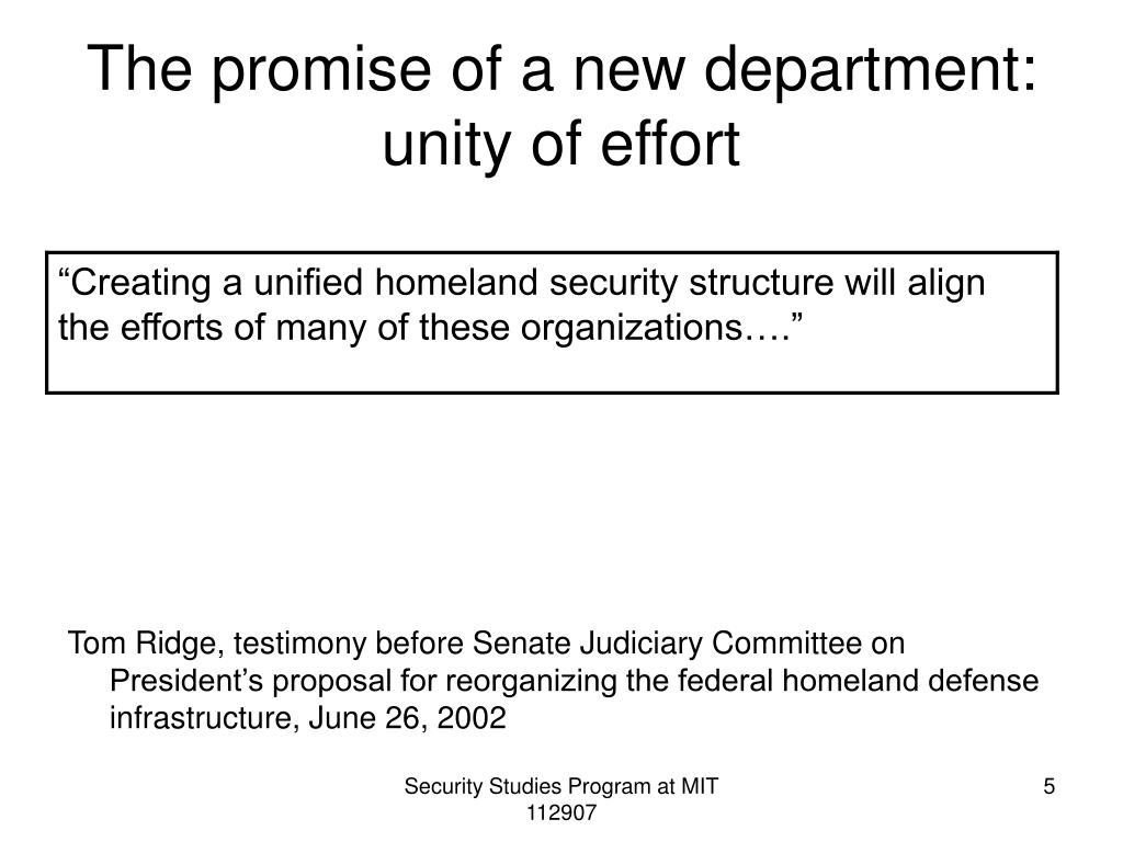 The promise of a new department: unity of effort