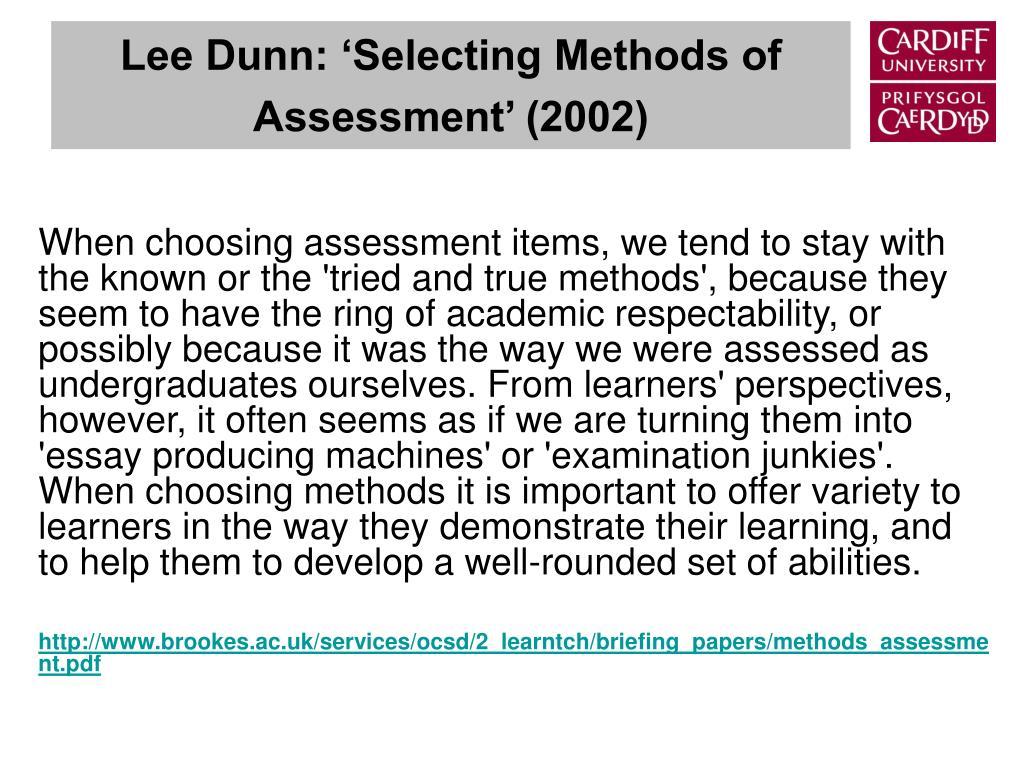 Lee Dunn: 'Selecting Methods of Assessment' (2002)