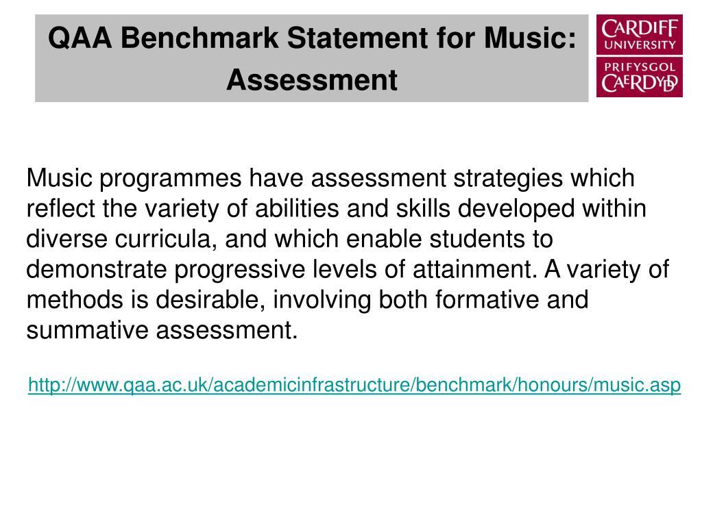 QAA Benchmark Statement for Music: Assessment