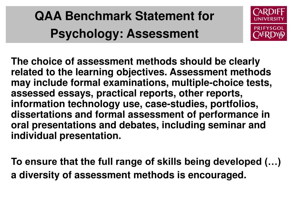 QAA Benchmark Statement for Psychology: Assessment