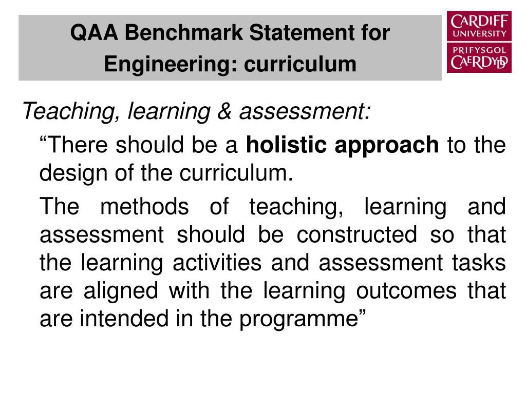 Teaching, learning & assessment: