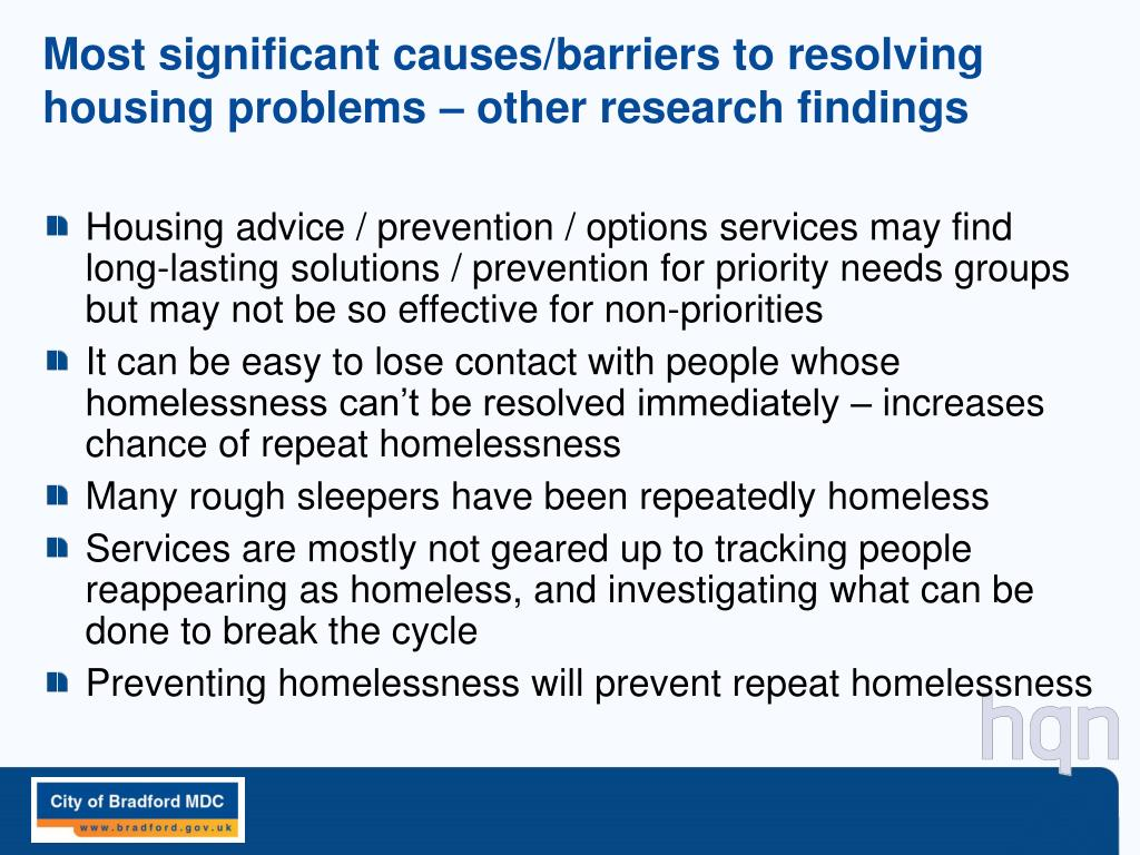 Most significant causes/barriers to resolving housing problems – other research findings