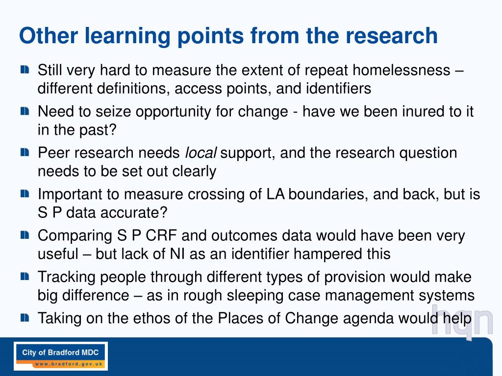 Other learning points from the research