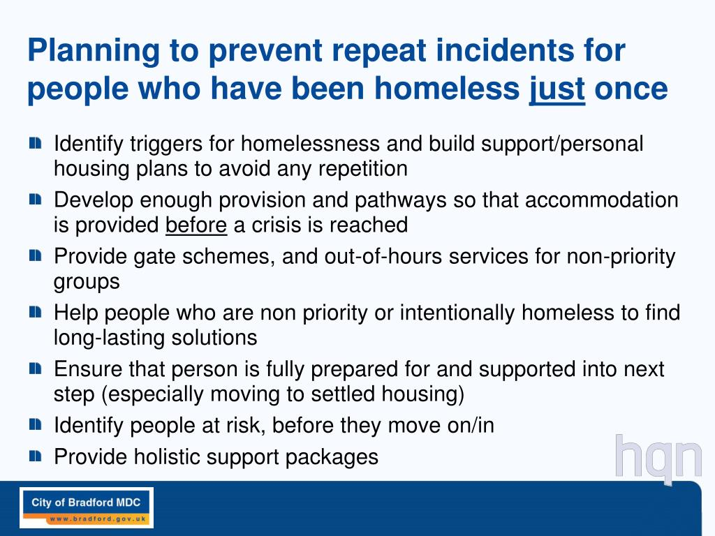 Planning to prevent repeat incidents for people who have been homeless