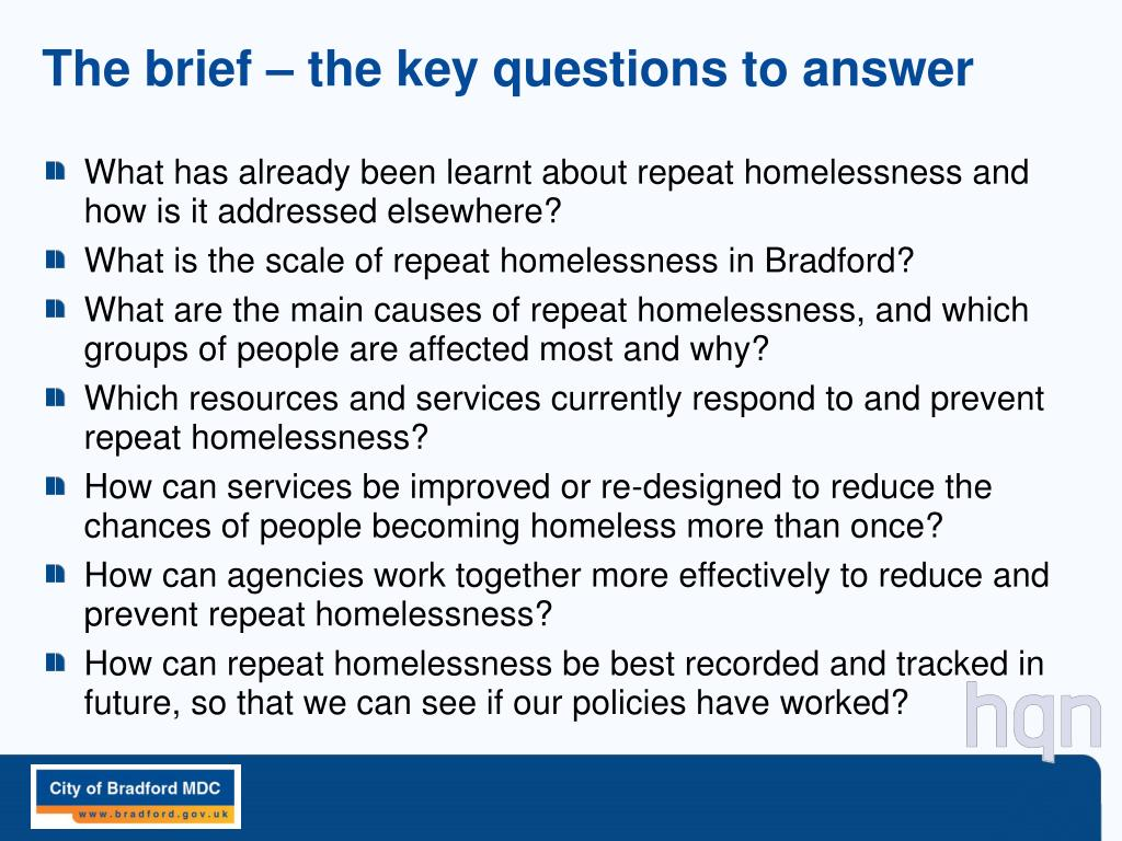 The brief – the key questions to answer