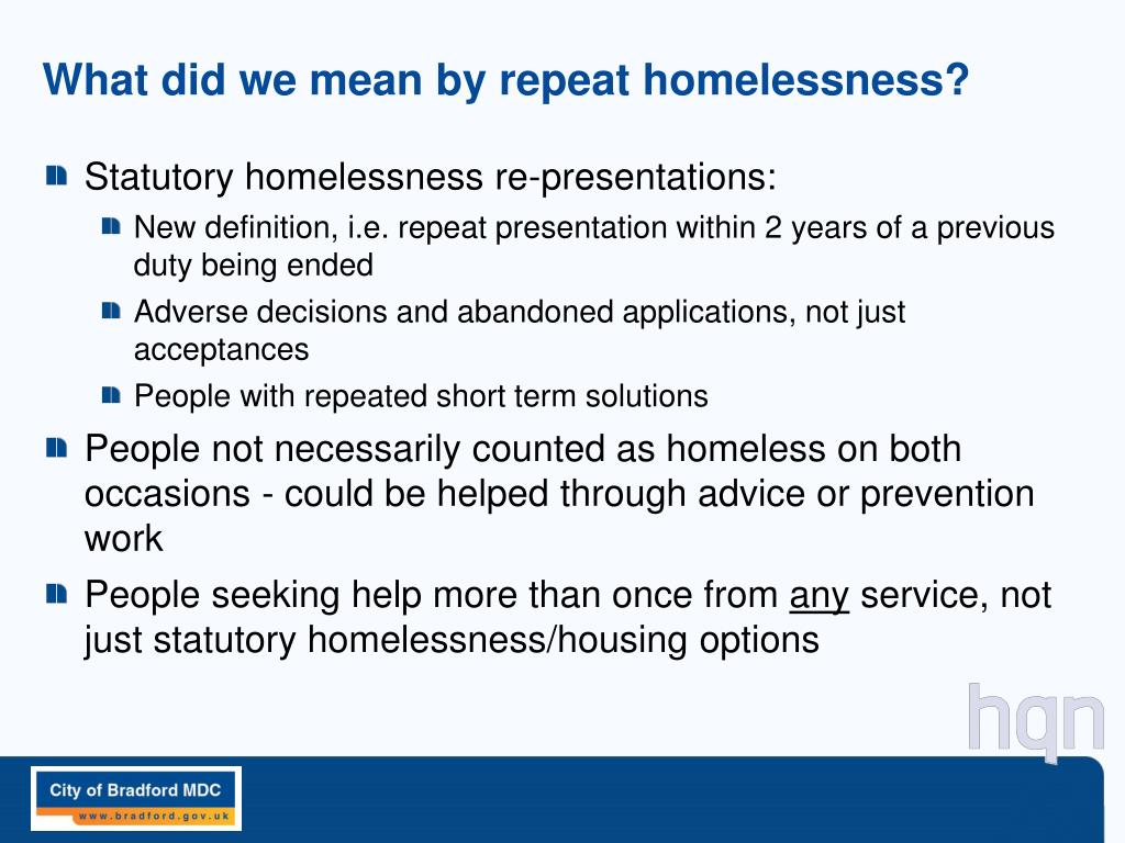 What did we mean by repeat homelessness?