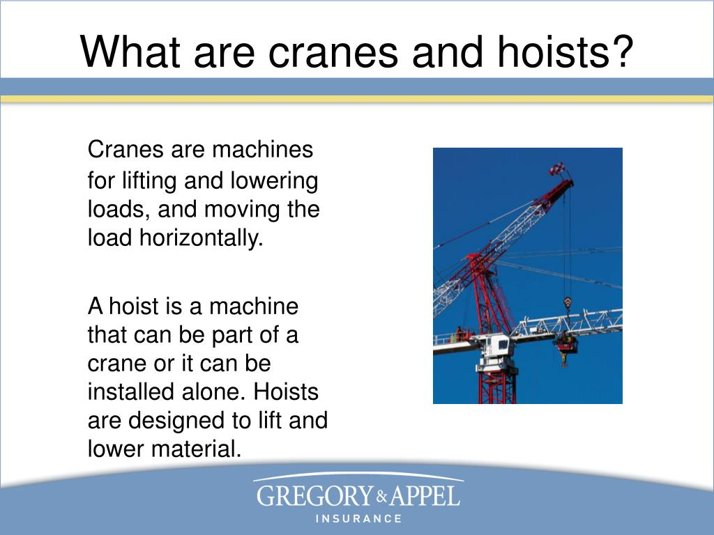 What are cranes and hoists?