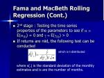 fama and macbeth rolling regression cont